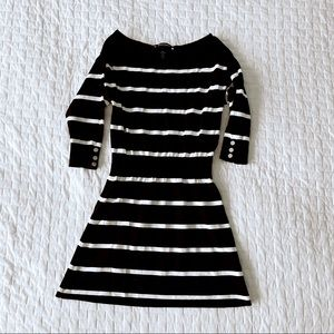 WHBM Black and White Striped Mini Dress XS